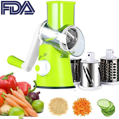 Vegetable Slicer Cheese Grater Rotary Drum Grater 3-Blades Manual Vegetable