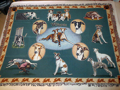 WHIPPET Dog Design Cotton Keepsake Throw Blanket * NEW