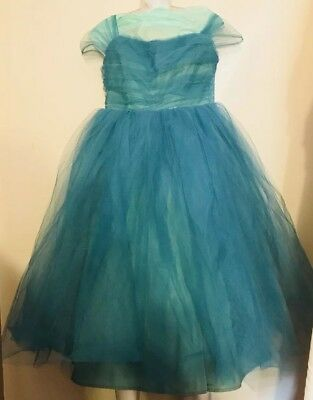 VINTAGE 1950's BOMBSHELL TURQUOISE TULLE RUCHED BODICE PARTY DRESS XS