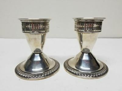 2 Duchin Creation Sterling Silver Weighted Pierced Candle Stick Holders