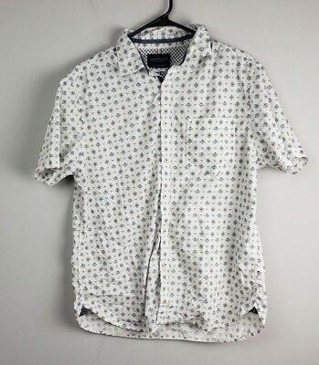 8a445c65121 Denim   Flower Mens Shirt Top Size Large Button Down Short Sleeve And Slim  Fit