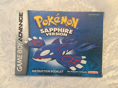 Pokemon Sapphire Version Game Boy Advance -Instruction Booklet Manual Only