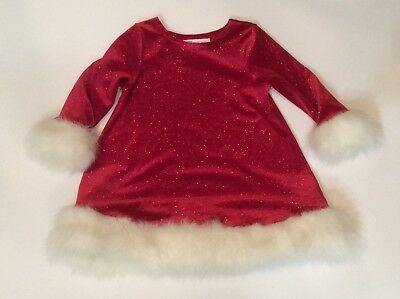 46f0af71a BONNIE JEAN Girls RED Velvet SPARKLY Christmas HOLIDAY Santa's Elf DRESS  Size 2T