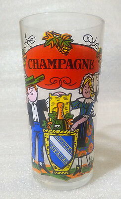 OLD RARE Vintage Water Cup ✱ CHAMPAGNE ✱ Collection Glass Reims FRANCE 80´th