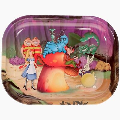 "Metal Rolling Tray ""Alice in Stonerland"", 7 x 5.5 - Free Express Shipping"