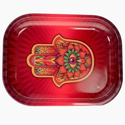 "Premium Metal Rolling Tray ""Hamsa"", 7 x 5.5 - Free Same Day Express Shipping"