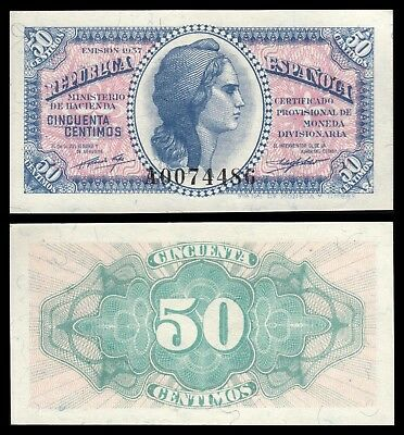 España - Spain  0,50 Céntimos 1937 Pick 93 SC- = aUNC (Civil War)