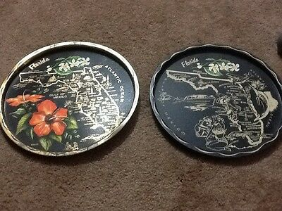 Lot 2 Vintage Metal Tin State Collector PLATE w/ Map & Highlights FLORIDA Disney