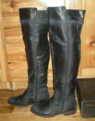 1cc0524ac6c NEW CHASE   CHLOE Maggy Faux Leather Over The Knee Boots