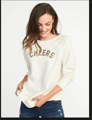 98282e3eb73cfe NWT OLD NAVY Ivory Women's Natural Relaxed CHEERS Graphic Crew-neck  Sweatshirt M