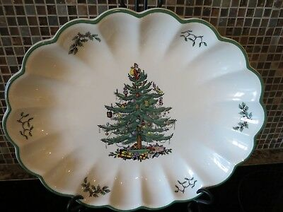 """NWT SPODE CHRISTMAS TREE 15"""" Oval Scalloped Fluted Tray Dish Platter Serving"""