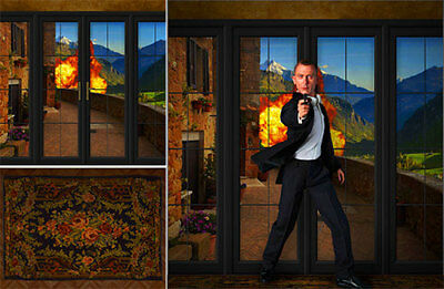 Poster Backdrop~James Bond 007~Chateau Kaboom For 1/6 Figures Sideshow Big Chief