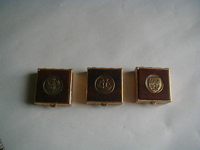 vintage lot of 3 small pillboxes brass wood ship lion eagle compact miniature