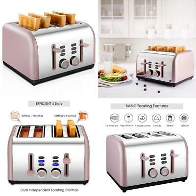 Cusibox Stainless Steel 4-Slice Toaster Bagel Toaster Extra-Wide Slots 1650W NEW