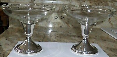 Qty 2 B-I Sterling Weighted Sterling Silver Candle Holders & Glass Candy Dishes