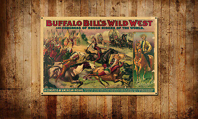 "Buffalo Bill's Wild West Show Vintage Style Poster Banner 36""x24"""