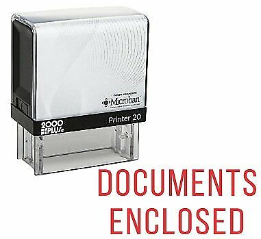 DOCUMENTS ENCLOSED Office Self Inking Rubber Stamp - Red Ink (E-5272)