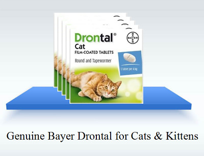 Drontal Bayer Dewormer for Cat Allworms Round and Tap Worm 4/8/16/32 tablets