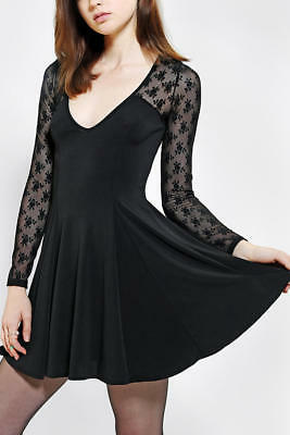 4adcdc9748 Kimchi Blue Long Sleeve Lace Mesh Flare Skater dress Black XS Urban  Outfitters