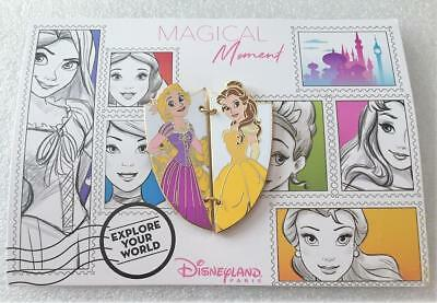 Disney DLP Magical Moment Post Card Series Tangled Rapunzel and Belle Pin