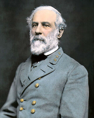 "GENERAL ROBERT E LEE CONFEDERATE CIVIL WAR 8x10"" HAND COLOR TINTED PHOTOGRAPH"
