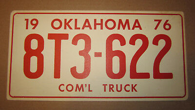 1976 Oklahoma Movie Prop License Plate - # 8T3-622 - Com'l Commercial Truck