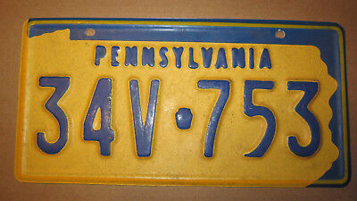 1969 Pennsylvania Movie Prop License Plate - #34V 753 - Vacuform Plastic