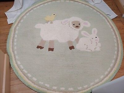 Pottery Barn Kids Cottontail Friends Wool Rug 5 ft round Euc