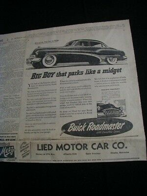 vintage 1950 newspaper print ad buick roadmaster car advertisment clipping