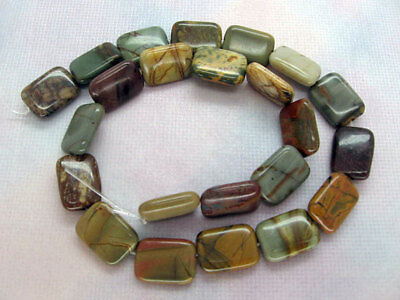 Genuine Multicolor Picasso Jasper Puffed Rectangle Beads 13x18mm - 16 Inch Stran