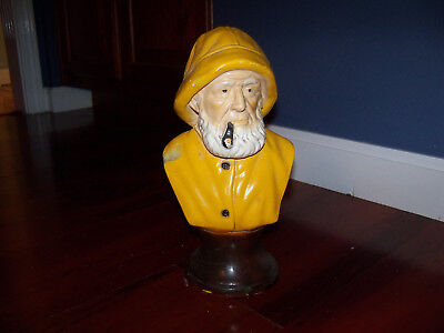 Nautical Vintage Chalkware Old Salty Sea Captain Fisherman Sailor Bust Statue