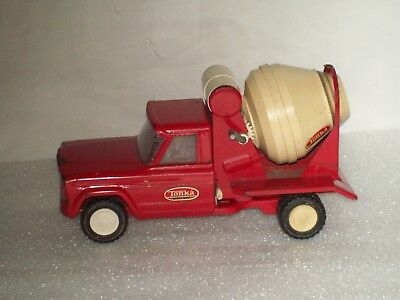 Vintage Red Tonka Dumping Concrete Cement Mixer Truck ~ Pressed Steel Toy 1960's