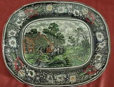"""""""Rural England"""" Mid winter China Multicolor 13.25"""" x10.75"""" Serving Plate Platter"""