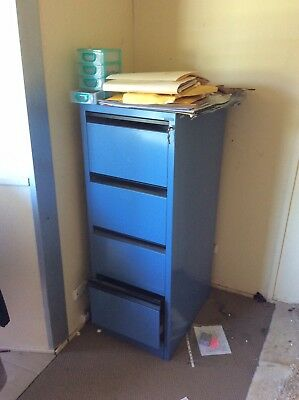 Metal 4 drawer filing cabinet With Key - Blue