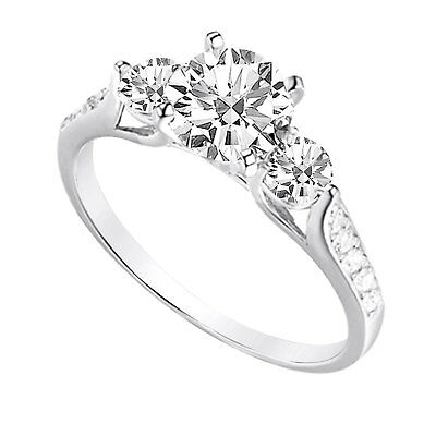 2.25 Ct Round Cut 3-Stone Engagement Wedding Ring Real Solid 14K White Gold