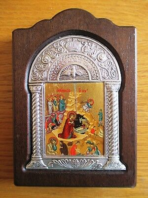Wood Hand Painted Orthodox Signed Byzantine Icon Nativity Of Christ Silver Frame