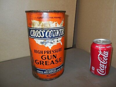 RARE Vintage CROSS COUNTRY - High Pressure Gun Grease Can  SEARS,ROEBUCK AND CO.