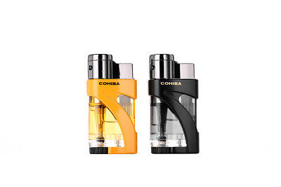 COHIBA Metal Pocket Curved Double Fire Windproof Jet Flame Cigar Lighter in Box