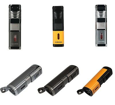COHIBA Metal Quad 4 Jet Pocket Fire Windproof Jet Flame Cigar Lighter Punch