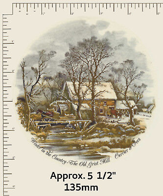 """1 Waterslide ceramic decal 5 1/2"""" plate Currier and Ives Winter The Old Mill"""