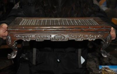 Old Chinese Huanghuali Wood Carved auspicious Pattern ancient Table Desk statue