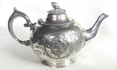 Victorian styled silver plated large floral/fruit patterned teapot / hinged lid