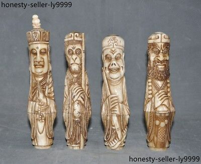 """6""""  Chinese old Cattle bone carved Tang Monk Goku Pig Bajie sand monk statue set"""