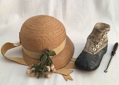 Antique Button Up Baby Shoe Straw Hat & Buttonhole Tool Decorative