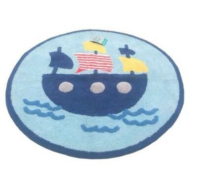 CHILDS BEDROOM RUG AHOY SHIPMATES BOAT ROUND BLUE MULTI 100% COTTON 70cm