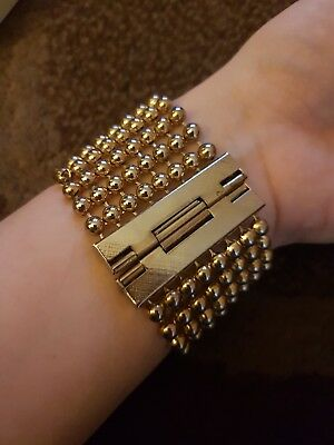 Vintage Art Deco Chain Ball Brass Bracelet Chainmaille Style
