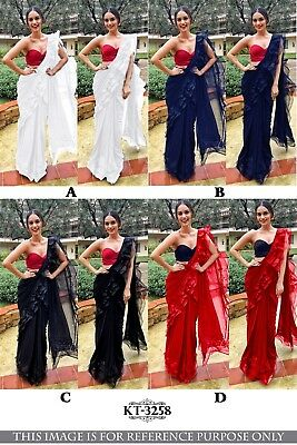 Frill Ruffle Georgette Saree Sari Indian Party Festive Wedding Bridesmaid KT3258