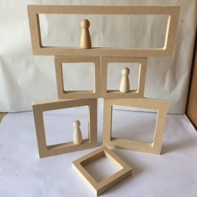 Wooden MDF Hollow Squares/Rectangles - Great for Peg Dolls ! (Free Standing)
