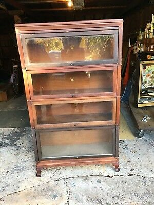 Antique Macey Dark Mahogany 4 Stack Barrister Bookcase Book Shelf