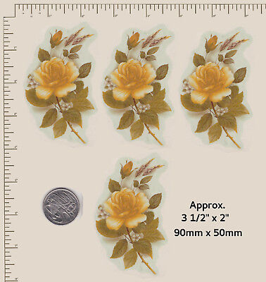 4 x Ceramic decal Yellow gold rose floral flower spray Buds 90mm x 50mm D3